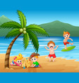 happy children playing at beach vector image vector image