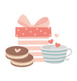 happy valentines day gift box cookies and coffee vector image vector image