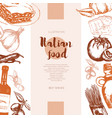 italian food - color hand drawn composite banner vector image vector image