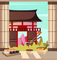 japan food architecture orthogonal composition vector image vector image