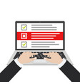 laptop and checkboxes with check mark checklist vector image