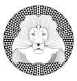 Lion head patterned symmetric animal drawing on vector image