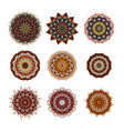mandalas collection round ornament pattern vector image