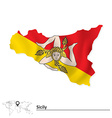 Map of Sicily with flag vector image