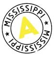Mississippi stamp rubber grunge vector image vector image