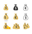 money cash bag icon isolated euro vector image vector image