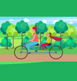 mother and daughter on tandem in park vector image vector image