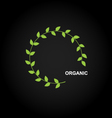 Organic product logo design with green leafs vector image