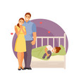 parents at the crib vector image