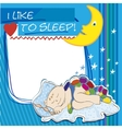 Postcard small child sleeps vector image vector image
