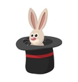 Rabbit in magic hat cartoon icon vector image vector image