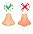 runny nose flat style icon healthy nose and colds vector image vector image