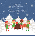 santa s elves at winter landscape carrying vector image