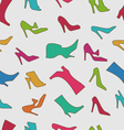 Seamless Pattern with Colorful Women Footwear vector image