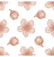 seamless pattern with hand drawn pastel peach vector image