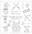 Sketch knight symbols and elements set