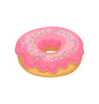 tasty donut with pink glaze and colorful sprinkles vector image