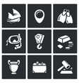 Treasure hunt icons set vector image vector image