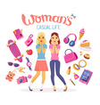two young girls with many items on white vector image vector image