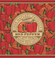 vintage red pepper label on seamless pattern vector image vector image