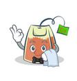 waiter tea bag character cartoon vector image vector image