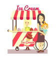 young girl sells ice cream and mother with baby vector image vector image