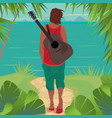 young man with guitar on the island vector image vector image