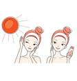 Young Woman Protect And Care Face From Sun Light vector image vector image