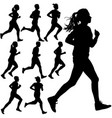 set of silhouettes runners on sprint men and vector image