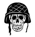 skull in an army helmet vector image