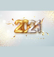 2021 gold and silver realistic numbers on light vector image vector image