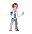 angry businessman holding a cellphone vector image vector image