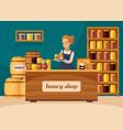 apiary beekeeper honey shop cartoon vector image vector image