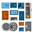 armored metal safes full of money and guns vector image