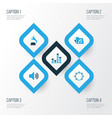 audio colorful icons set collection of tambourine vector image vector image
