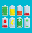 battery set with steps of charge isolated on blue vector image vector image