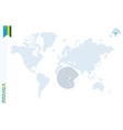 blue world map with magnifying on rwanda vector image vector image