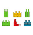 bottle group icon set color outline style vector image vector image