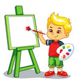boy learning to paint on his canvas vector image