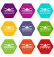 butterfly swimmer icon set color hexahedron vector image vector image