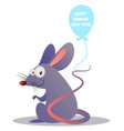 cartoon mouse holding ballon on white background vector image vector image