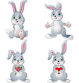 cartoon rabbits collection set vector image