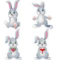 cartoon rabbits collection set vector image vector image