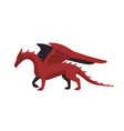 cartoon red mythical creature dragon isolated on vector image