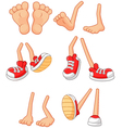 Cartoon walking feet on stick legs in various posi vector image