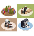 coffee production isometric concept vector image vector image