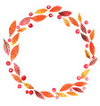 colorful autumn leaves with red berry wreath vector image vector image