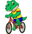crocodile rides a bicycle vector image