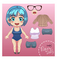 cut dress up paper doll vector image
