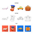 design of airport and airplane symbol set vector image